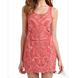 Free People Pink Beaded Sleeveless Dress